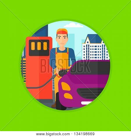 A worker filling up fuel into the car. Worker in workwear at the gas station. Gas station worker refueling a car. Vector flat design illustration in the circle isolated on background.