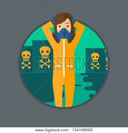 Woman in mask and radiation protective suit clutching head while standing in polluted water on a background of radioactive barrel. Vector flat design illustration in the circle isolated on background.