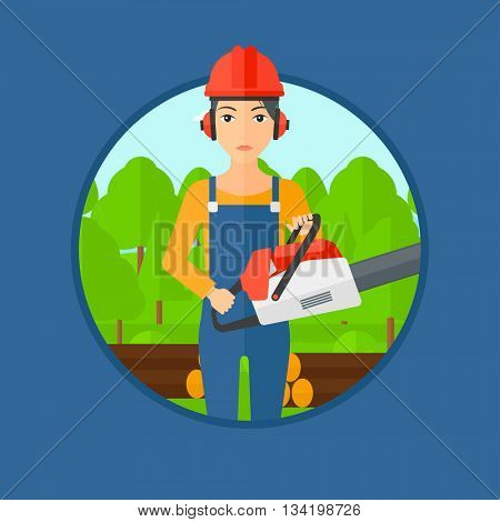 A female woodcutter holding a chainsaw. Woodcutter in workwear, hard hat and headphones at the forest with logs. Vector flat design illustration in the circle isolated on background.