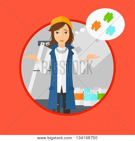 A doubtful young woman choosing color for walls in apartment. Woman with spread arms choosing a color of paint. Vector flat design illustration in the circle isolated on background.