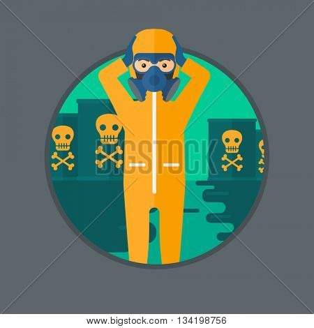 Man in mask and radiation protective suit clutching head while standing in polluted water on a background of radioactive barrel. Vector flat design illustration in the circle isolated on background.