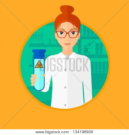A female scientist holding a test tube with biohazard sign. Scientist examining a test tube in a chemical laboratory. Vector flat design illustration in the circle isolated on background.