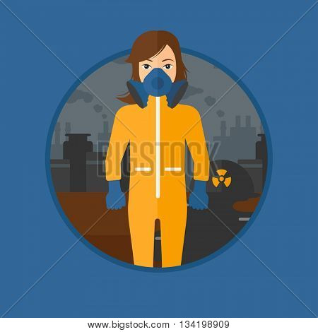 A woman wearing gas mask and radiation protective suit. Woman in radiation protective suit on a background of nuclear power plant. Vector flat design illustration in the circle isolated on background.