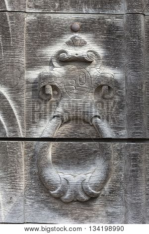 Fragment of the wooden door to burned XVII century church of St. Michael the Archangel in Stara Sil - Western Ukraine