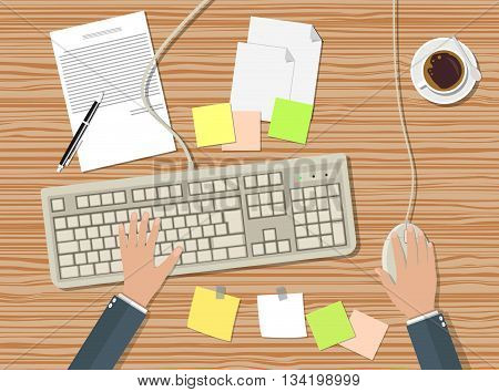 businessman working at a computer, office workplace with keyboard, mouse, coffee cup, documents papers, color stycky notes. vector illustration in flat design on wooden background