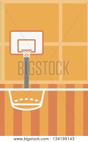 Background of basketball court. Basketball arena vector flat design illustration. School basketball court. Sport concept. Vertical layout.