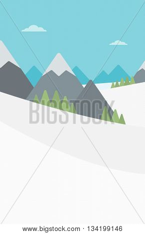 Background of snow capped mountain. Landscape with mountain peaks vector flat design illustration. Outdoors extreme sports concept. Vertical layout.