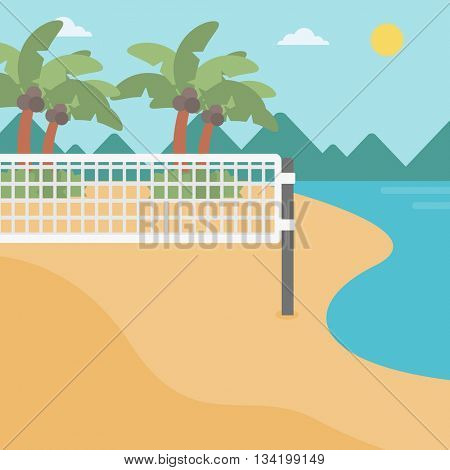 Background of beach volleyball court at the seashore. Volleyball net on the beach. Sport concept. Square layout.