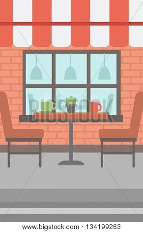 Background of street cafe. Cafe on the street with table and chairs vector flat design illustration. Outdoor cafe. Vertical layout.