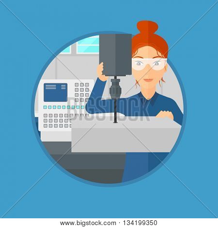 Woman working on milling machine at workshop. Woman using milling machine at factory. Woman making a hole using a milling machine. Vector flat design illustration in the circle isolated on background.