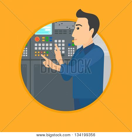 Man working on control panel. Man pressing button at control panel in plant. Engineer standing in front of the control panel. Vector flat design illustration in the circle isolated on background.