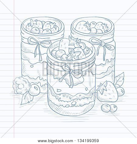 Jam in glass jars and fresh berries. Jam jar hand drawn on notebook paper in line background. Jam jar vector sketch illustration.