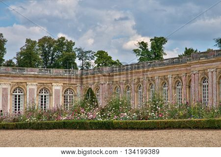 Versailles; France - august 19 2015 : the Grand Trianon in the Marie Antoinette estate in the parc of Versailles Palace