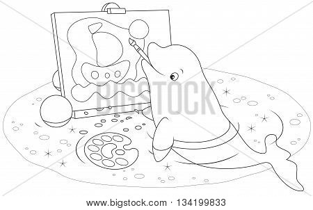 beluga drawing a picture with a brush and paints
