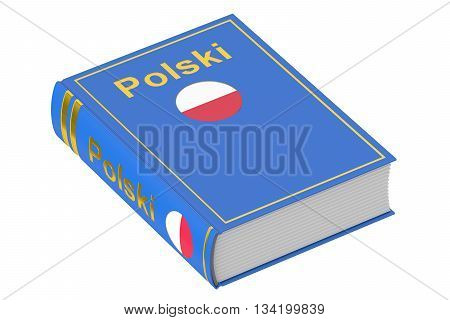 Polish language textbook 3D rendering isolated on white background