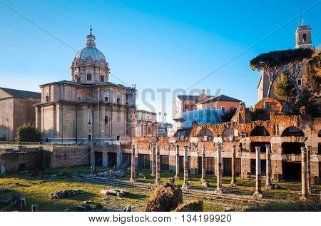 Traditional street view of old buildings in Rome on January 5, 2015. Rome is a city and special comune in Italy. With 2.9 million residents. January 5 Rome, ITALY