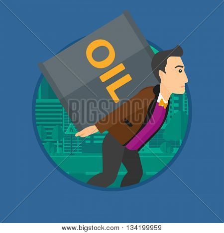 A man carrying an oil barrel on his back. Man with oil barrel walking on a city background. Man with oil barrel on his back. Vector flat design illustration in the circle isolated on background.