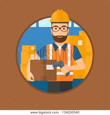 Hipster warehouse worker scanning barcode on box. Warehouse worker checking barcode of box with a scanner. Warehouse worker in hard hat with scanner. Vector flat design illustration in the circle.