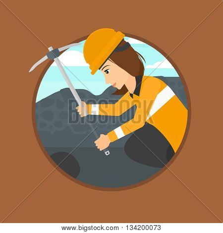 Miner working with a pickaxe. Mine worker in hard hat. Miner at the coal mine. Vector flat design illustration in the circle isolated on background.