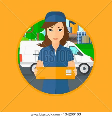 Delivery woman with a cardboard box standing on background of delivery truck. Delivery woman with a cardboard box in her hands. Vector flat design illustration in the circle isolated on background.
