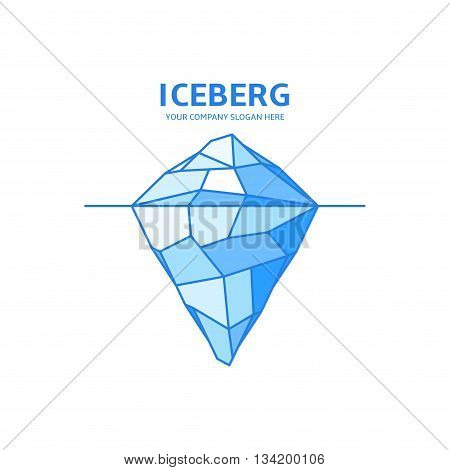 Vector logo in linear style. Iceberg icon from triangles and polygons. Template of label of travel club.