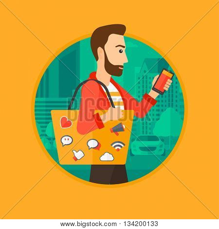 Hipster man with the beard walking with smartphone and handbag full of social media icons. Man using smartphone in the city street.Vector flat design illustration in the circle isolated on background.