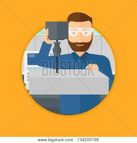 Man working on a milling machine at workshop. Man using milling machine at factory. Man making a hole using a milling machine. Vector flat design illustration in the circle isolated on background.