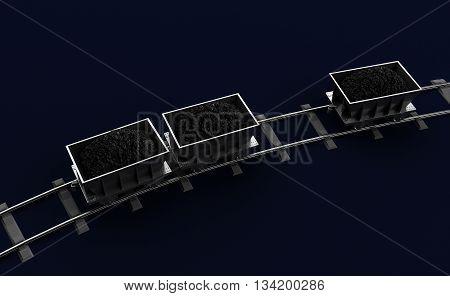 3D Illustration of a Coal trolleys on dark background