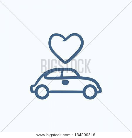 Wedding car with heart vector sketch icon isolated on background. Hand drawn Wedding car with heart icon. Wedding car with heart sketch icon for infographic, website or app.