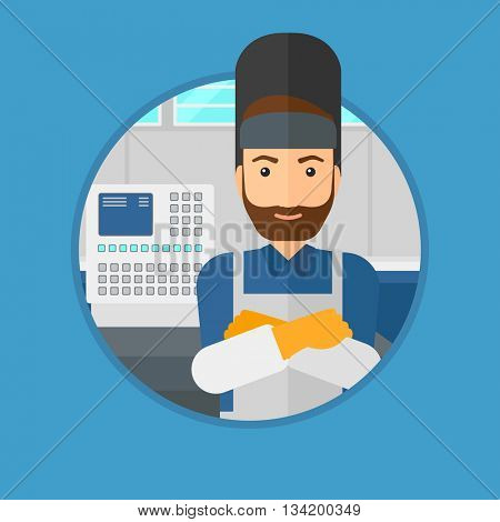 A hipster welder with the beard at factory workshop. Industrial worker with protective welder mask. Welder with arms crossed. Vector flat design illustration in the circle isolated on background.