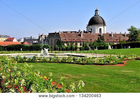 Summer view of Belvedere garden in Vienna Austria