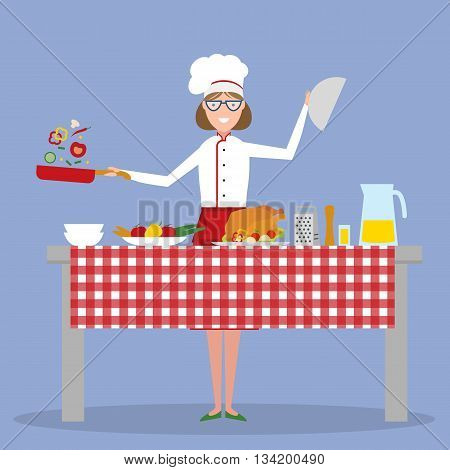 Female chef cooking on blue background. Restaurant worker preparing food. Chef uniform and hat. Table and cafe equipment. Home cooking.