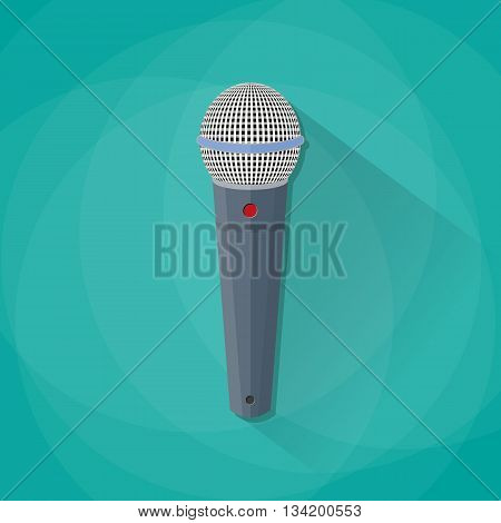 Grey metallic microphone with long shadow. vector illustration in flat design on green background