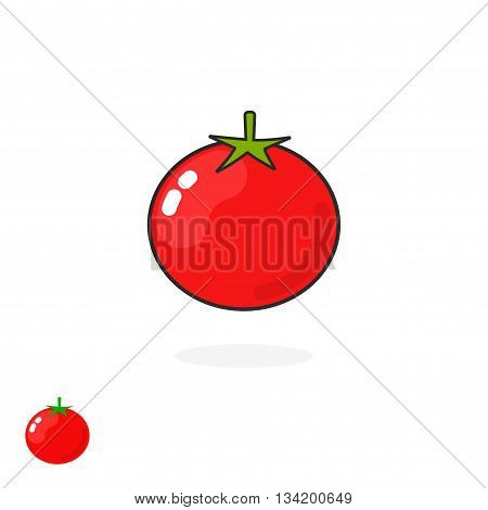 Tomato vector icon isolated on white, flat cartoon tomato illustration line outline art logo