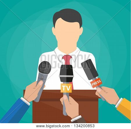Public speaker and hands of journalists with microphones. Press conference concept, news, media, journalism. vector illustration in flat style on green background