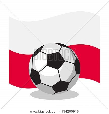 Football or soccer ball with polish flag on white background. World cup. Cartoon ball. Concept of championship, league, team sport. Game for kids and adults. Cheering and sport fans concept.