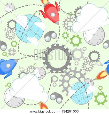 Industrial pattern on light green background. Wrench, clock, cog, gear, clouds, planet and rocket. Abstract concept of teamwork, successful business and communication.