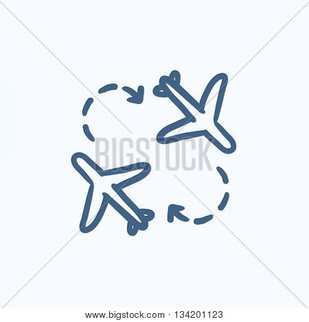 Airplanes vector sketch icon isolated on background. Hand drawn Airplanes icon. Airplanes sketch icon for infographic, website or app.