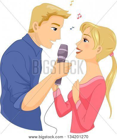 Illustration of a Couple Singing Together