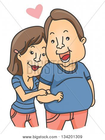 Illustration of a Woman Clinging to the Arm of Her Boyfriend