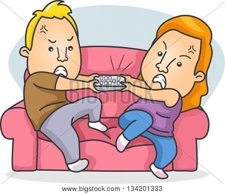 Illustration of a Married Couple Fighting Over the Remote Control