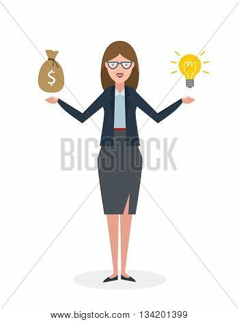 Businesswoman with idea bulb and money bag on white background. Isolated cartoon chararter.Businesswoman investor. Innovation.