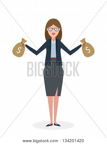 Businesswoman with money bags. Isolated character. Businesswoman holding bags of money. Wealth and investment.