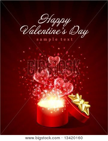 Open gift with fly hearts Valentine's day vector background