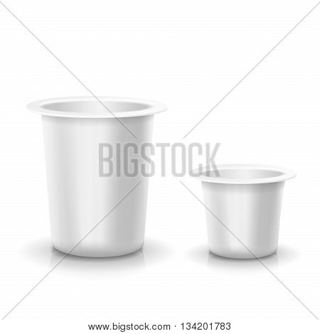Realistic White blank opened plastic container for yogurt, jams and other products. Vector illustration