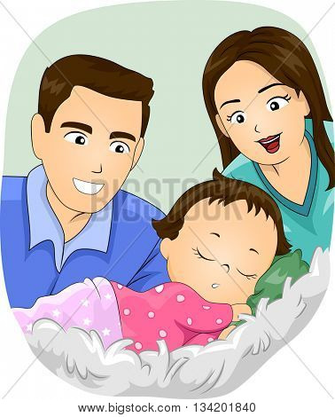 Illustration of a Married Couple Watching Their Daughter Sleep