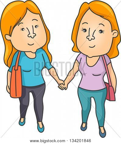 Illustration of a Lesbian Couple Holding Hands While Walking