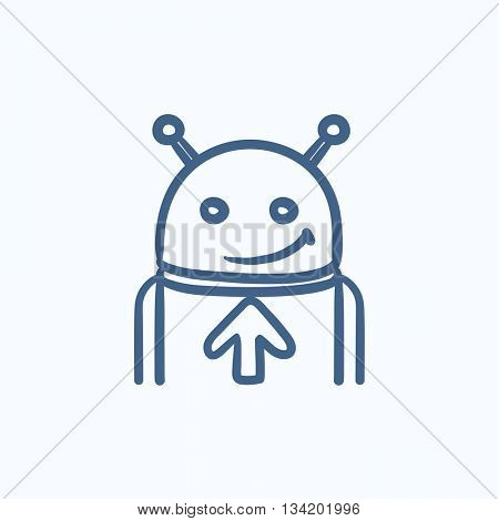 Robot with arrow up vector sketch icon isolated on background. Hand drawn Robot with arrow up icon. Robot with arrow up sketch icon for info graphic, website or app.