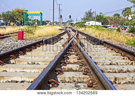 train tracks at the train depot in Thailand