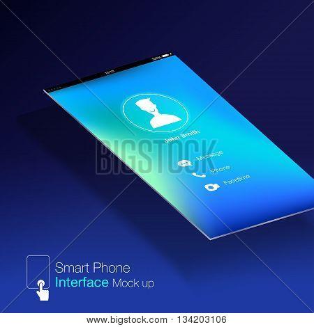 Smartphone Interface Ui Design Mock Up,phone6 Ratio Screen,blue Background